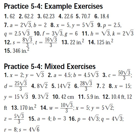 Worksheet Geometry Worksheets With Answer Key geometry worksheet answer keys mhshs wiki special right triangles 5 4 me and ee key