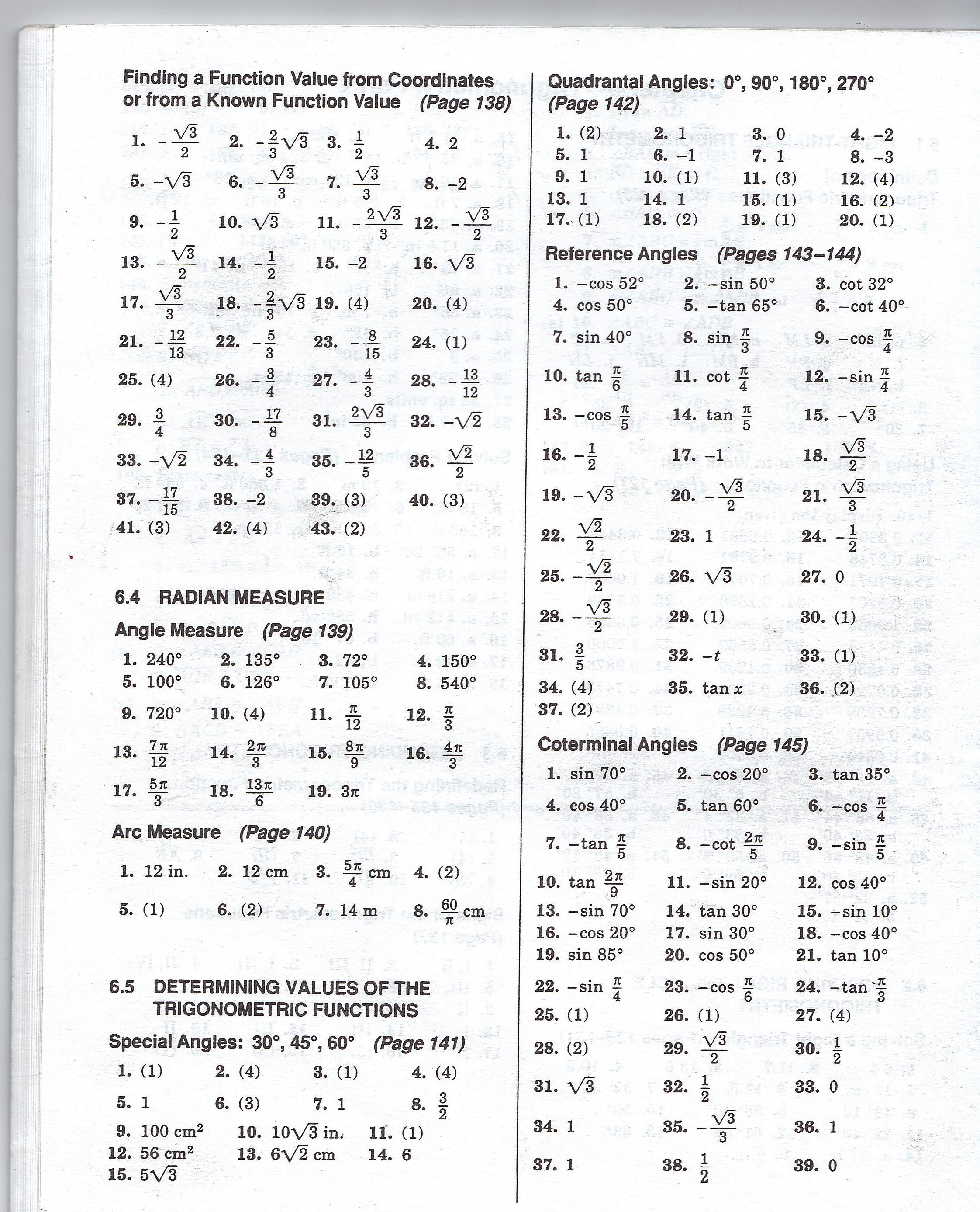 Algebra II / Trig Worksheet Answer Keys - MHSHS Wiki